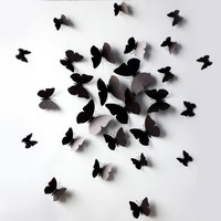 12pcs 3D Butterfly Wall Stickers Decor Art Decorations Black