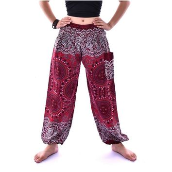 Unisex Rose Harem Pants Women Mandala Tango Yoga Pants Petite Gypsy Baggy Pants Loose Thailand Nepal Design Free Shipping