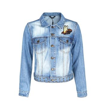 Apparel Denim Jacket Street Wear Women Solid Blue Basic Outwear For Ladies Casual Animal Embroidered Loose Female Coat