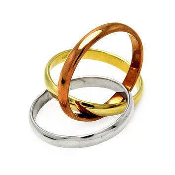 .925 Sterling Silver Tricolor Gold Plated Designer Ring Band 3 Rings in One   -    Nickel Free