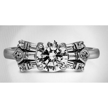 The Bow Tie, An Art Deco 1CT Round Cut Solitaire Russian Lab Diamond Engagement Ring