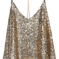 Gold Criss Cross Sequined Cami Top -SheIn(Sheinside)