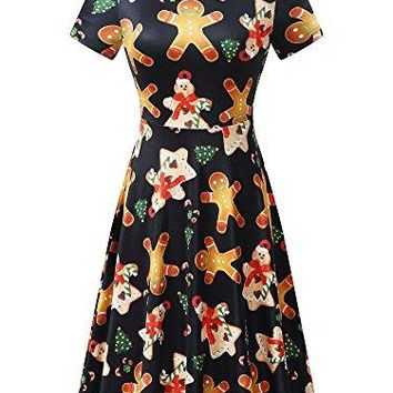 FENSACE Christmas Dress Womens Santa Claus Printed Gifts Xmas Dress