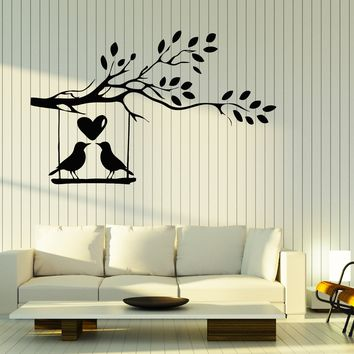 Wall Stickers Vinyl Decal Branch Tree Birds Cage Hearts Romantic Decor Unique Gift (z2064)