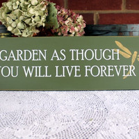 Garden Sign As Though You Will Live Forever Wood Wall Art Dragonfly Generations Family
