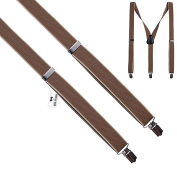 Coffee-Beige Slim Suspenders