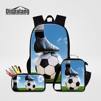 Cool Backpack school 3 PCS Set School Bag Pencil Case Lunchbox To School Cool Footballs Backpacks For Boys Basketballs Soccers Bagpack Male Mochilas AT_52_3