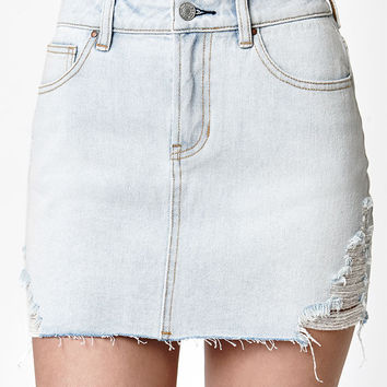 PacSun Destructed Light Denim Mini Skirt at PacSun.com