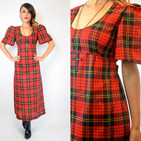 tartan PLAID punk GRUNGE revival schoolgirl rocker MAXI dress, extra small-small
