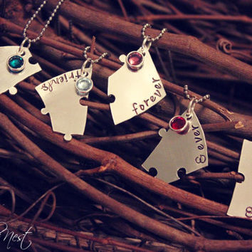 Hand Stamped Best Friends 5 Piece Puzzle Heart Necklace Set