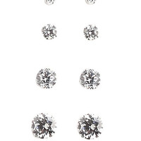 Lord & Taylor Sterling Silver and Cubic Zirconia Stud Earrings Set