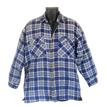 Blue Flannel Shirt Flannel Jacket 90s Grunge Flannel Shirt Men Flannel Shirt Plaid Flannel Shirt Lumberjack Flannel Men Cotton Shirt 1990s