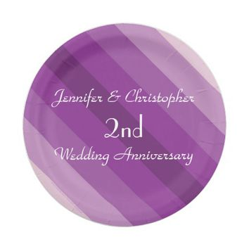 Purple Striped Plates, 2nd Wedding Anniversary Paper Plate