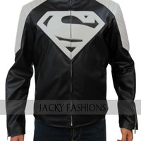 Superman Man of Steel Smallville Black & Grey Leather Jacket + FREE GIFT