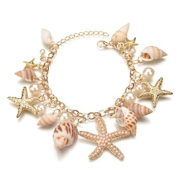 New Fashion Tidal Marine Shells And Starfish Charm Bracelet