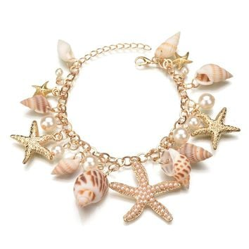 MissCyCy 2017 New Fashion Tidal Marine Shells And Starfish Bohemian Charm Bracelet For Women Jewelry