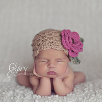 Baby Girl Hat Beanie Flower Hat Photo Prop