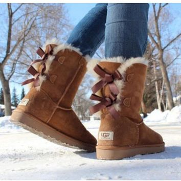 UGG:: bow leather boots boots in tubeb cute two bowknot Chestnut-3