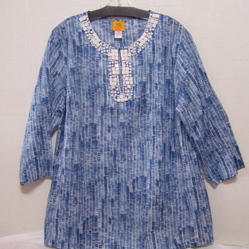 Women's Plus Summer Top Blouse  Ruby Rd Blue And White FREE SHIP Cruise Resort Wear