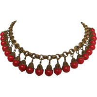 Vintage Brass and Lipstick Red Czech Glass Ball Bib Necklace