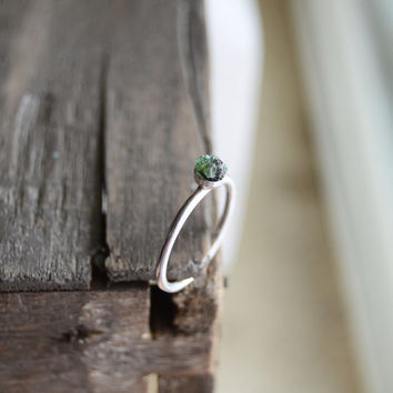 Raw Emerald Ring. May Birthstone Gifts For Her. Raw Gemstone Emerald Green Dainty Ring. Sterling Silver