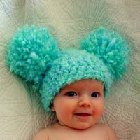 Chirstmasinjuly 15%OFF Baby Hats Baby Girl Hats Baby Pom Pom Hats Crochet Baby Girl Hats Newborn Photography Props Hats Photo - Sea Green