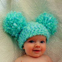 SALE 15% OFF Baby Hats Baby Girl Hats Baby Pom Pom Hats Crochet Baby Girl Hats Newborn Photography Props Hats Photo Props - Sea Green