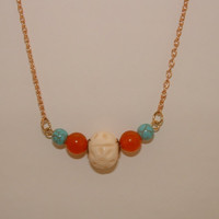 Necklace with bone beads Orange stone beads, and turquoise acrylic beads : Gold Tone