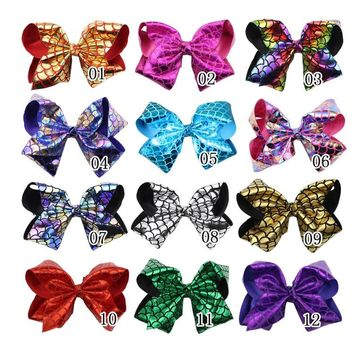 """MengNa Large 8"""" JoJo Bow With Clips,Big Leather Hair Bow With Alligator Clips Fashion Bling Mermaid Hair Clip,20pc/lot"""