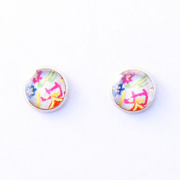 Japanese earrings, surgical steel stud earrings, Chiyogami washi, Japanese paper jewelry, flower, grass, fields, cottage, gold line