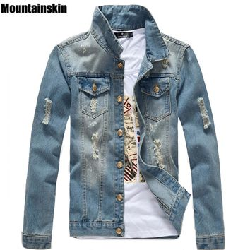 Mountainskin Spring Men's Jean Jacket Slim Men Fits Denim Jeans Solid Male Jean Coats Men Cowboy Fashion Brand Clothing,SA158