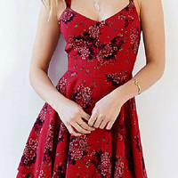 Red Floral Dress with Criss Cross Straps