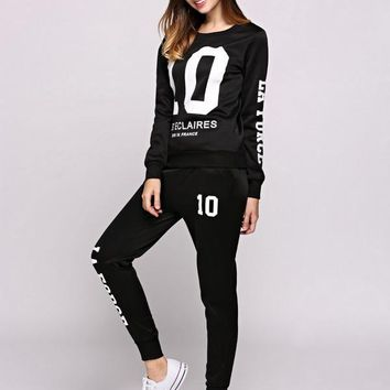 Sporting Suits Tracksuit  Two Piece Set Letters Print Long Sleeve Sweatshirt