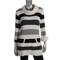 Style & Co. Womens Striped Cowl Neck Pullover Sweater
