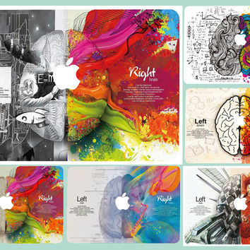Left Right Brain Colorful For Sticker Macbook Air 11 12 13 Pro 13 15 Retina Decal Laptop Wall Car Vinyl Logo Skin Marble Matte