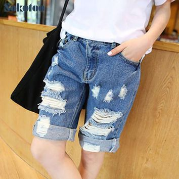 Sokotoo Women's summer ripped jeans Fashion boyfriend holes denim Capri for women shorts Breeches Free shipping