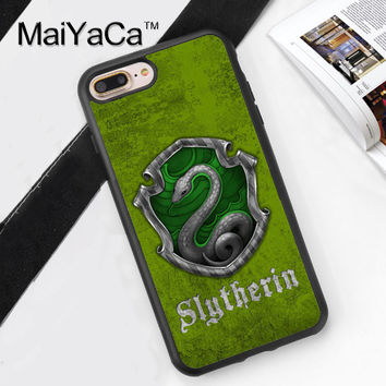 Harry Potter Slytherin Printed Soft Rubber Cover for Apple iPhone 7 7Plus 6 6S Plus 5 5S 5C SE 4S Hard Plastic Phone Cases