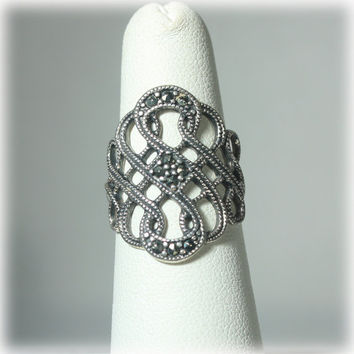 Woven Open Work Sterling Marcasite Ring