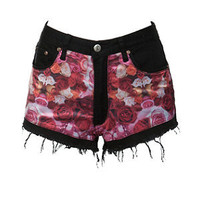 bambam Rose Print Black Denim Shorts