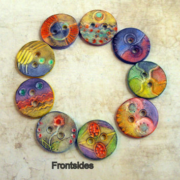 RESERVED 9 Artisan Buttons - Connector Elements -  Polymer Clay Handmade
