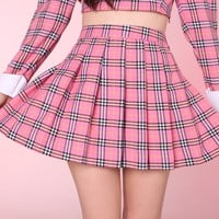 Glitters For Dinner — Made To Order - Pink As If Tartan Pleated Skirt