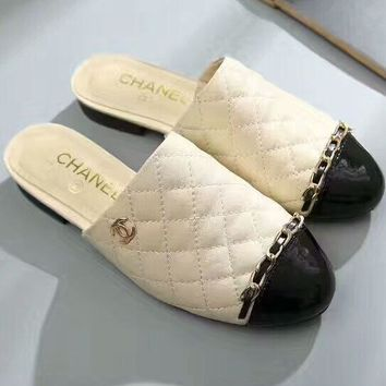 Chanel rhombic color matching baotou semi-slipper leather chain flat female drag F-OMDP-GD Beige