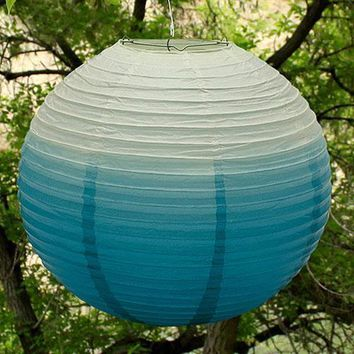 Ombre Colored Round Paper Globe Lanterns Dark Pink (Pack of 1)