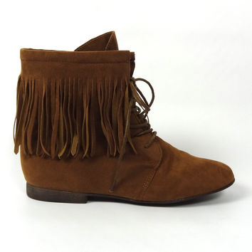 Lace Up Suede Fringe Booties - Camel | .H.C.B.