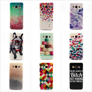 Slim Colorful 3D Printed Dog Flower Soft Silicone TPU Back Cover for Samsung Galaxy A3 A300 A300F Transparent Side Phone Cases