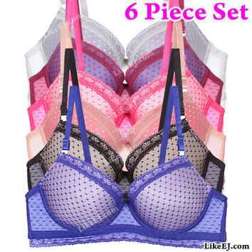 6 pack of Dot line pattern all over Lace opening on the band lace panels on the cup Bra #91119