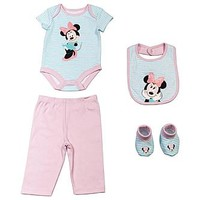 Disney Baby Minnie Mouse Newborn & Infant Girl's Bodysuit, Pants, Bib & Booties