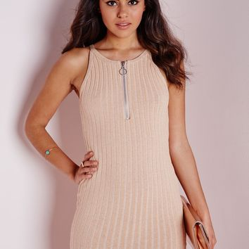 Missguided - Racer Neck Ribbed Knitted Dress Nude