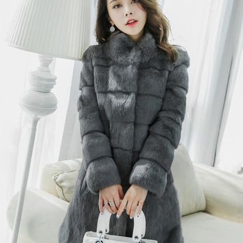 Genuine natural real rabbit fur coat women fashion medium-long  stand collar  overcoat  autumn and winter warm jacket