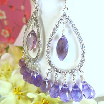 Sterling silver tear drop purple amethyst chandelier earrings